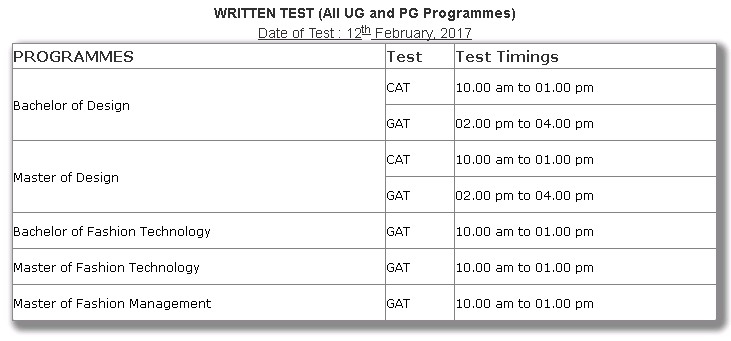 nift written exam schedule