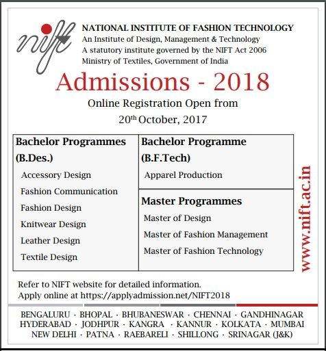 Nift 2018 Counselling Registration Schedule Choice Filling Admission
